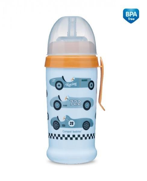 Canpol babies Športová nekvapkajúci fľaša Racing - sv. modrá
