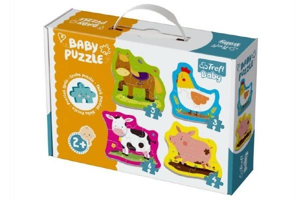 Puzzle baby zvieratá na farme 4ks v krabici 27x19x6cm 2+