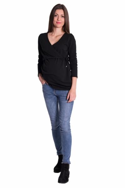 Zavinovacie tehotenské triko/tunika - čierna