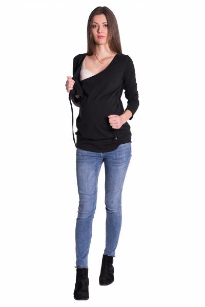 Be MaaMaa Zavinovacie tehotenské triko/tunika - čierna, vel´. L