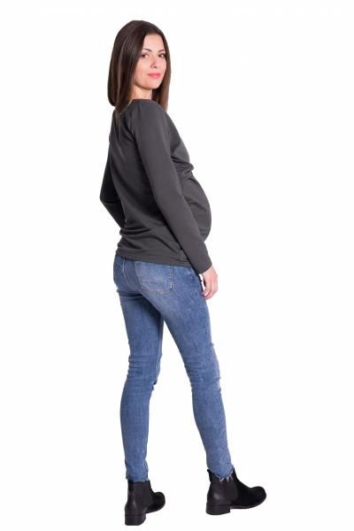 Be MaaMaa Zavinovacie tehotenské triko/tunika - grafit, vel´. XL-XL (42)