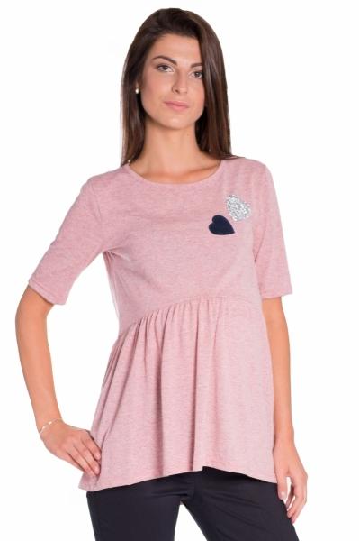 Elegantná tunika nielen pre tehotné, krátky rukáv - ružová, vel´. M-M (38)
