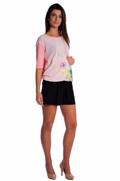 Tehotenské tričko/blúzka s potlačou kvetín - ružové