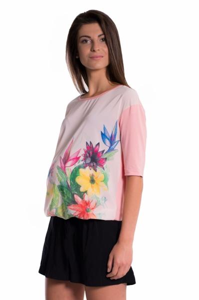 Be MaaMaa Tehotenské tričko/blúzka s potlačou kvetín - ružové, vel´. M