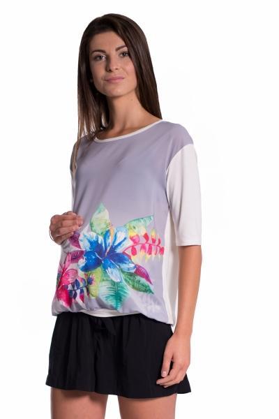 Be MaaMaa Tehotenské tričko/blúzka s potlačou kvetín - šedé, vel´. L