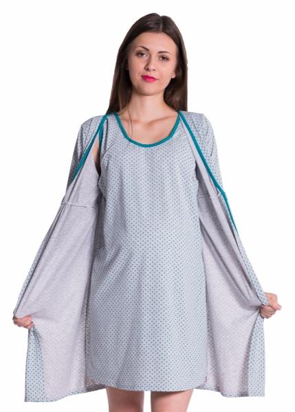 Be MaaMaa Tehotenská, dojčiace nočná košeľa + župan - bodky, zelená, roz. M