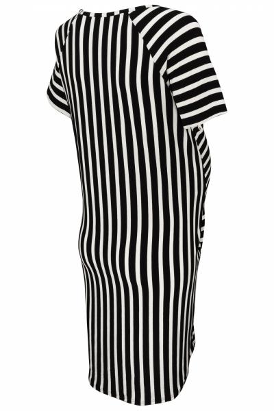 Tehotenské prúžkované šaty s kr. rukávom a vreckami - ecru/granat
