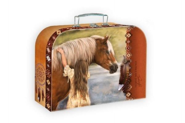 Teddies Šitý Kufrík /Kufor kôň s dievčaťom 25x19x9,5cm