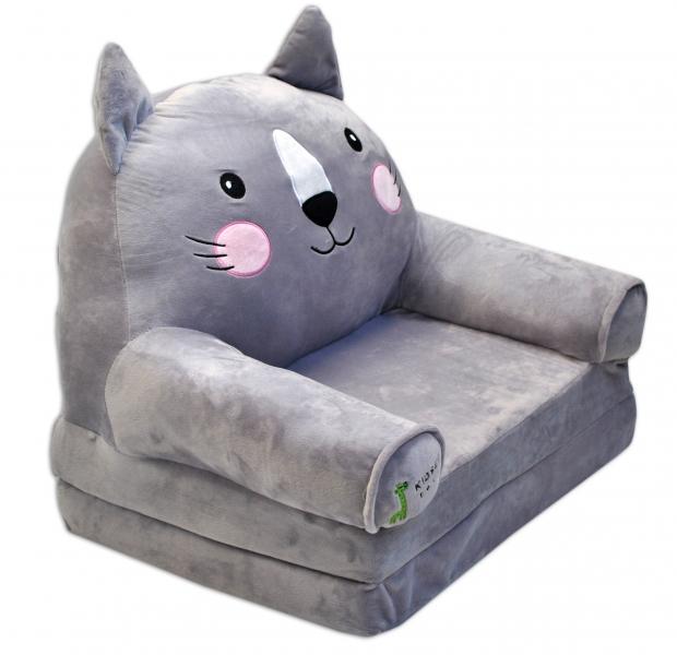 Plyšové kresielko rozkladacie 3v1  - Kočka