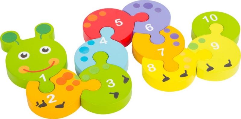 Drevené puzzle húsenica s číslami 1 -10