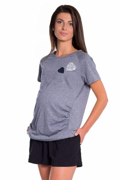 Tehotenské tričko kr. rukáv - granat, vel´. M-M (38)