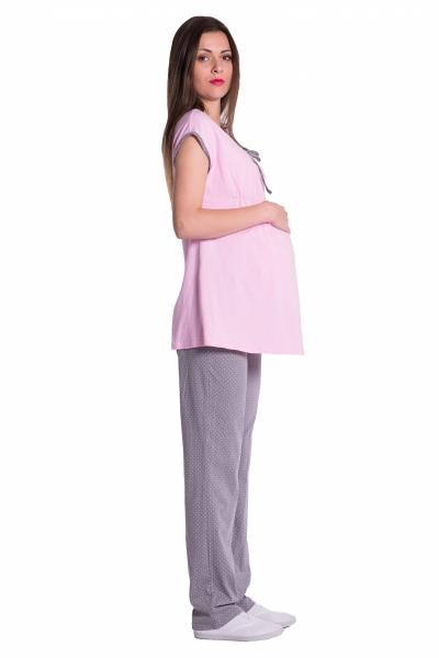 Tehotenské, dojčiace pyžamo - ružovo /sivé