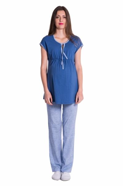 Be MaaMaa Tehotenské, dojčiace pyžamo - jeans/modrá, roz. S-S (36)