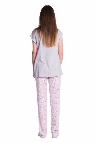 Tehotenské, dojčiace pyžamo kvetinky - šedá/ružová