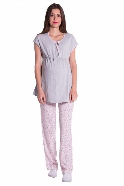 Be MaaMaa Tehotenské, dojčiace pyžamo kvetinky - šedá/růžová, vel´.XL-XL (42)