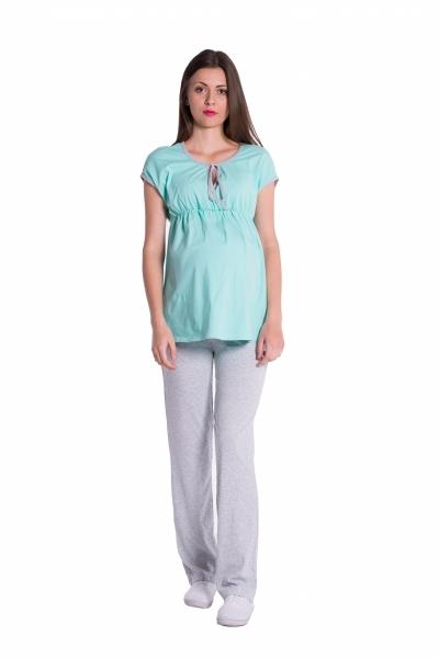 Tehotenské, dojčiace pyžamo - mátová/šedá