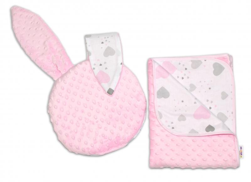 Baby Nellys 2-dielna súprava do kočíka s Minky, Srdiečka a hviezdičky - ružová