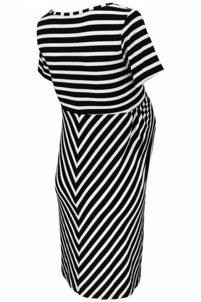 Tehotenské prúžkované šaty s Kr. rukávom - granát/ecru