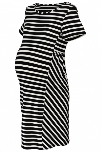 Tehotenské prúžkované šaty s k. rukávom - čierna/ecru