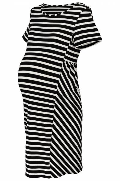 Be MaaMaa Tehotenské prúžkované šaty s Kr. rukávom - čierna/ecru, vel´. XL