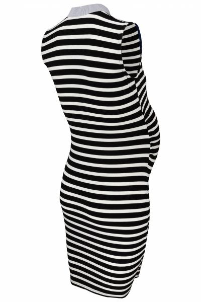 Tehotenské prúžkované šaty so stojáčikom - granát/modrá