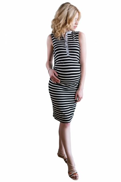 Tehotenské prúžkované šaty so stojáčikom - ecru/čierna