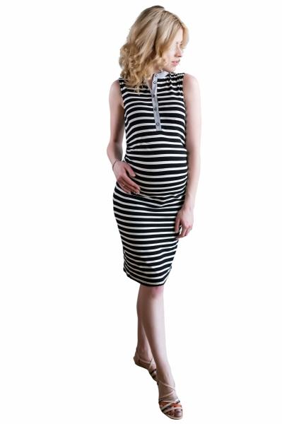 Tehotenské prúžkované šaty so stojáčikom - ecru/ganat
