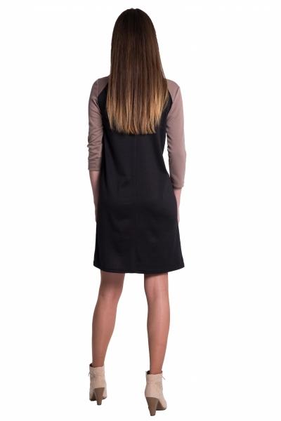 Tehotenské, dvojfarebné šaty s 3/4 rukávom - béžové