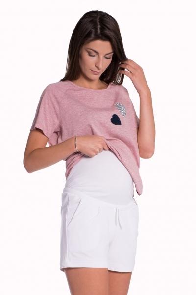 Tehotenské, bavlnené kraťasy s odpárateľným pásom - biele