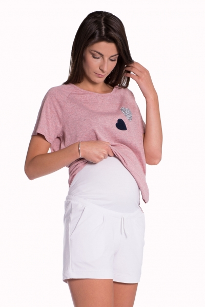Tehotenské, bavlnené kraťasy s odpárateľným pásom - navy