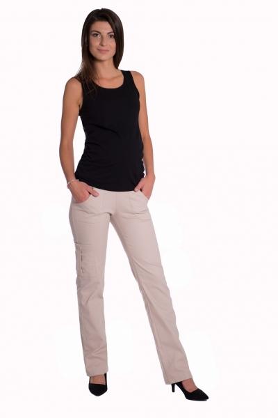 Bavlnené, tehotenské nohavice s vreckami - béžové