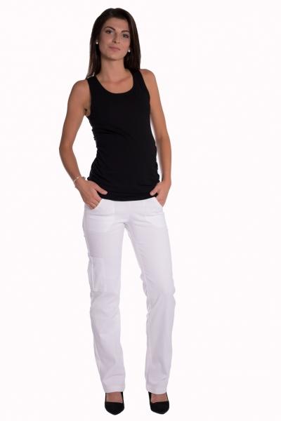 Be MaaMaa Bavlnené, tehotenské nohavice s vreckami - biele