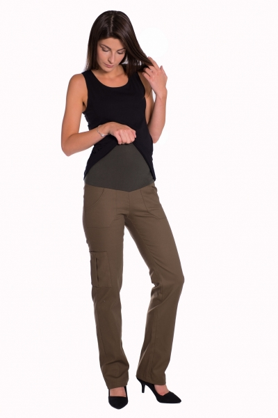 Bavlnené, tehotenské nohavice s vreckami - biele