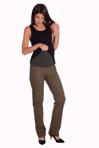 Bavlnené, tehotenské nohavice s vreckami - čierne