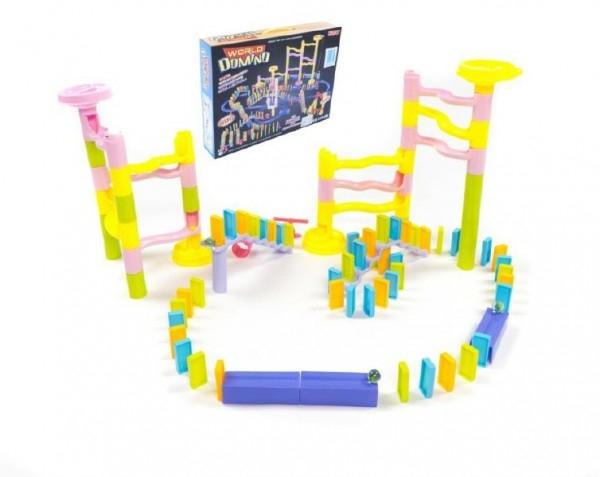 Guličková dráha s dominom plast 285ks v krabici 45x35x8cm