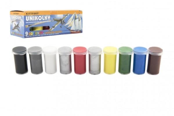 Teddies Unikolky modelárske farby sada 9 farieb + matný lak zadarmo v krabičke