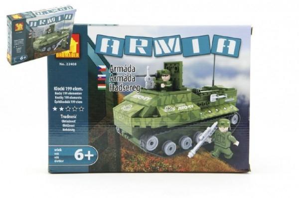 Teddies Stavebnica Dromader Vojaci Tank 22408 199ks v krabici 25,5x18,5x4,5cm