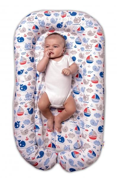 Baby Nellys Obojstranné hniezdočko pre bábätko Oceán Baby - modrý