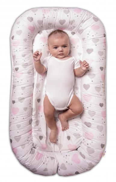 Baby Nellys Obojstranné hniezdočko pre bábätko Srdiečka a hviezdičky - ružový