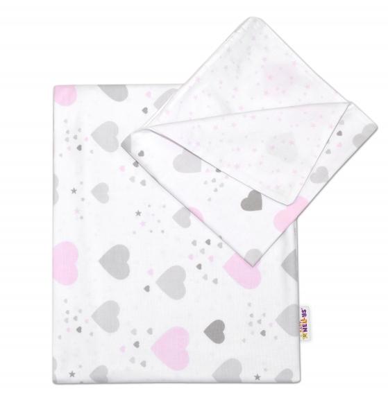 Baby Nellys 2-dielne bavlnené obliečky Srdiečka a hviezdičky - ružové