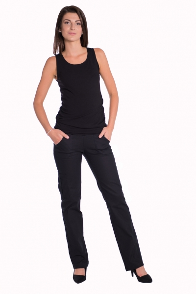 Be MaaMaa Bavlnené, tehotenské nohavice s vreckami - čierne, vel´. XL