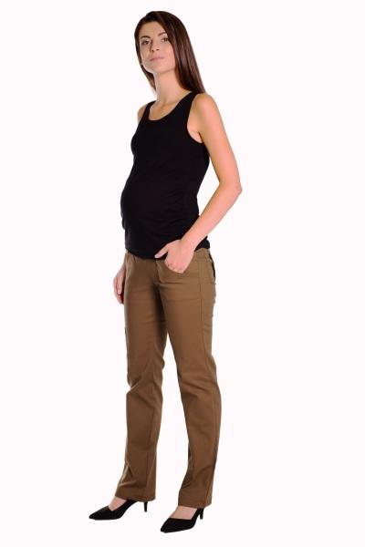 Bavlnené, tehotenské nohavice s vreckami - khaki veľ.L, XXXL