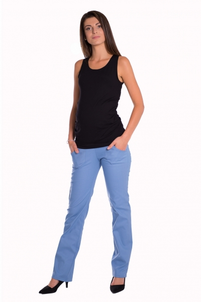 Be MaaMaa Bavlnené, tehotenské nohavice s vreckami - sv. modrá