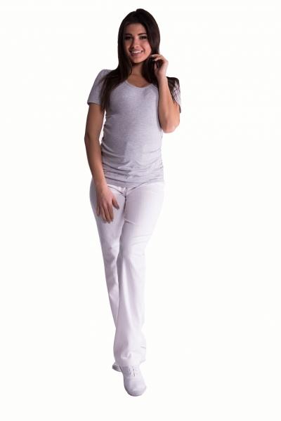 Bavlnené, tehotenské nohavice s regulovateľným pásom - biele