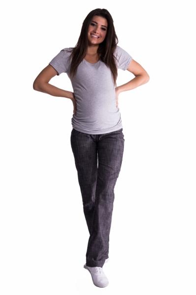 Be MaaMaa Bavlnené, tehotenské nohavice s regulovateľným pásom - čierne, vel´. XXL