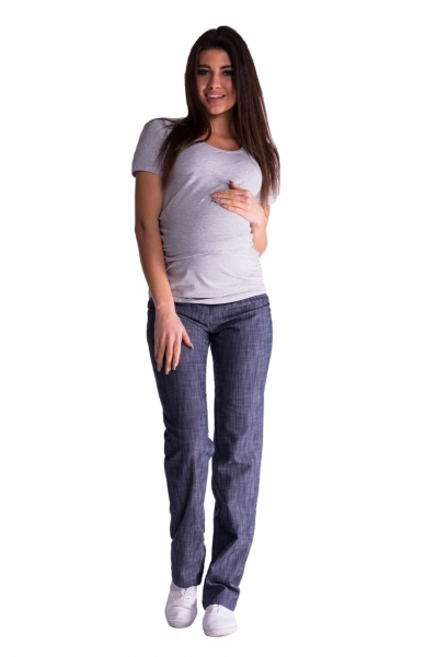 Be MaaMaa Bavlnené, tehotenské nohavice s regulovateľným pásom - granat
