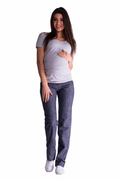 Be MaaMaa Bavlnené, tehotenské nohavice s regulovateľným pásom - granat, vel´. XL