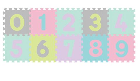 BabyOno Penové puzzle Čísla - 10ks, pastelové
