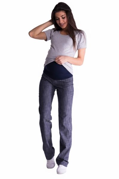 Bavlnené, tehotenské nohavice s regulovateľným pásom - sv. modrá