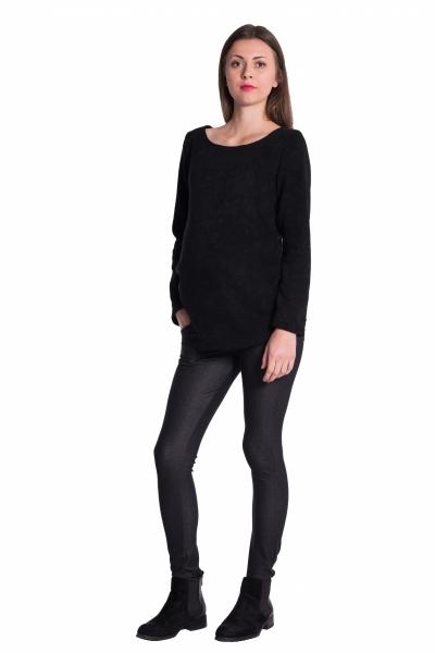 Tehotenské legíny s pásom a vreckami - čierne,vel´. L-L (40)